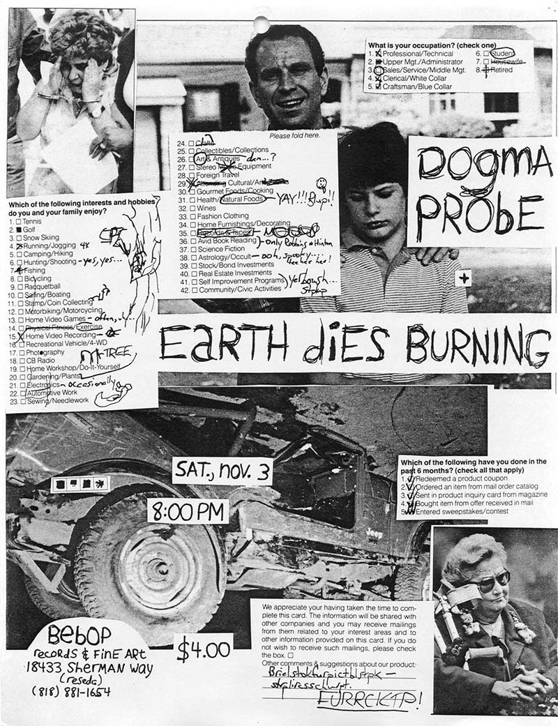 Dogma Probe, Earth Dies Burning at Bebop Records, $4